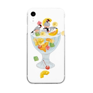 みつ豆桜文鳥 Clear smartphone cases