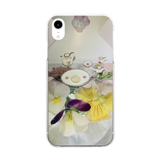 hisurebahananariのスミレの晩餐 Clear smartphone cases