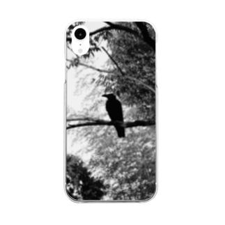 白黒カラス Clear smartphone cases