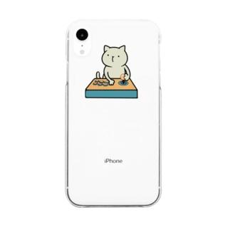 ゲームねこちゃん Clear smartphone cases
