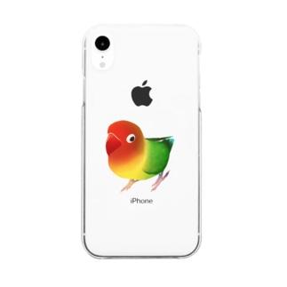 ボタンインコ おすましルリゴシボタンインコ【まめるりはことり】 Clear smartphone cases
