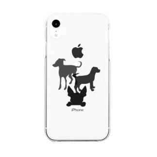 犬のシルエット Clear smartphone cases