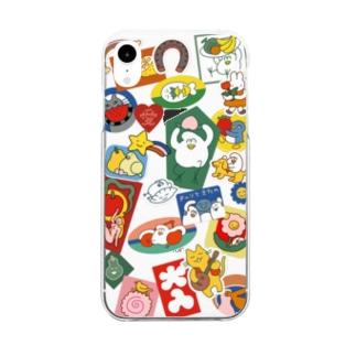 シールがたくさん Clear smartphone cases