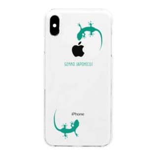 ヤモリ シルエット ロゴ (ターコイズグリーン) Clear smartphone cases