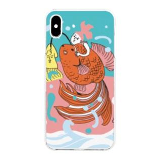 跳ね金魚(背景カラー) Clear smartphone cases