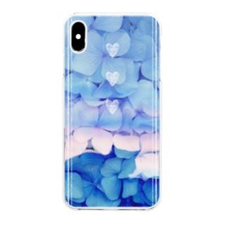 猫と紫陽花 Clear smartphone cases