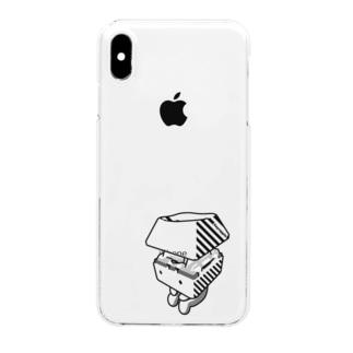 お座りキーキャッピー モノトーン Clear smartphone cases