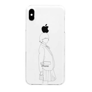 女の子 制服 ワンポイント Clear smartphone cases