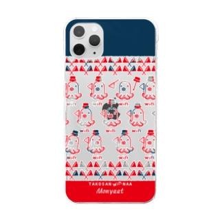 たこさんwinなーネイビー Clear smartphone cases