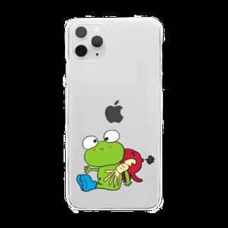 ぺけ丸のかえる いか たこ Clear smartphone cases
