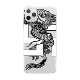 BLACK卍EMPEROR SHOPのエンペラー・ドラゴンデザイン Clear smartphone cases