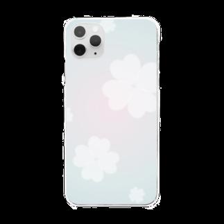 まゆぽんのアトリエのホワイトクローバー Clear smartphone cases