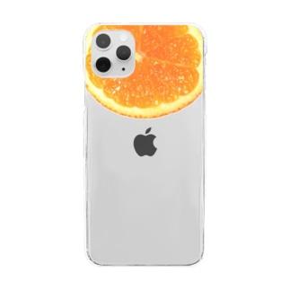 オレンジ Clear smartphone cases