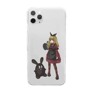 黒ウサ&アリス Clear smartphone cases