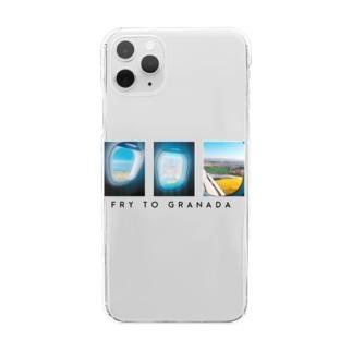 グラナダ行き飛行機Tシャツ Clear smartphone cases