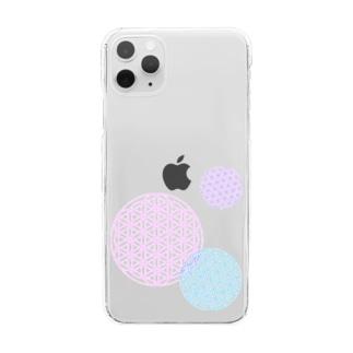 フラワーオブライフ Clear smartphone cases