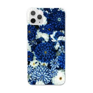 つまみ細工紋様 瑠璃×月白 Clear smartphone cases