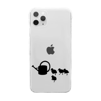 ジョウロについて歩く子ガモ達 Clear smartphone cases