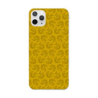 鶴柄-金 Clear smartphone cases