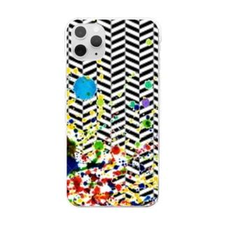 ヘリンボーン カラースパッタリングデザイン Clear smartphone cases