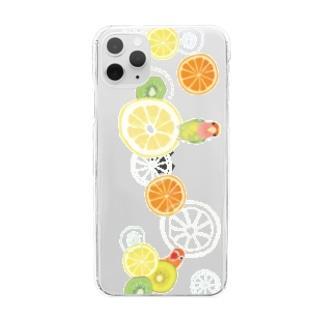 ラブバとフルーツ(横長) Clear smartphone cases