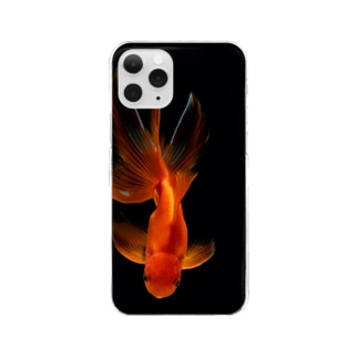 goldfish isolated on a dark black background Clear smartphone cases