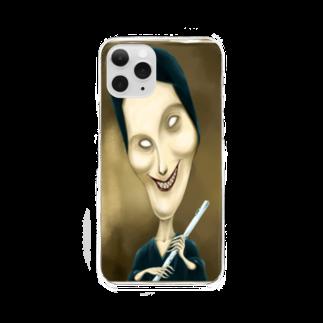 堀越ヨッシーのお店の笛を吹く女性 Clear smartphone cases