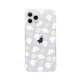 どすこいタロー クリアスマホケース(海 ブルーver.) Clear smartphone cases