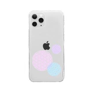 フラワーオブライフ 幾何学模様A Clear smartphone cases