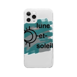 lune-et-soleilのblue and gray logo Clear smartphone cases