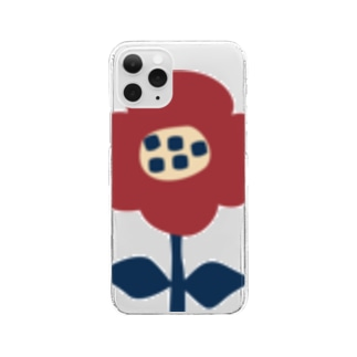 北欧レトロフラワー Clear smartphone cases