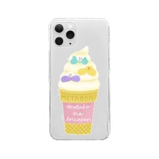 メタボなインコさん_ソフトクリーム Clear smartphone cases