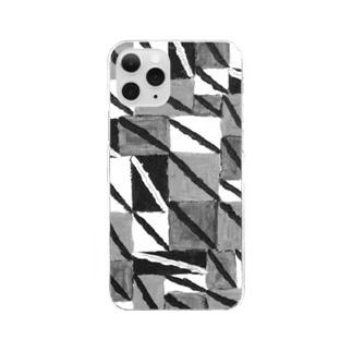 〈ヤマサキサチコ〉ショップの白黒ナナメ Clear smartphone cases
