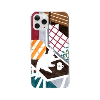 hk_illustrationのねこちゃんとキンモクセイ Clear smartphone cases