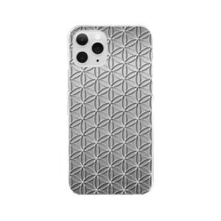フラワーオブライフ メタリックA Clear smartphone cases