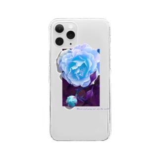 咲き誇れ(ブルー) Clear smartphone cases