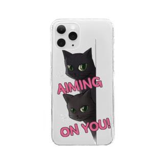 気になる視線 Clear smartphone cases