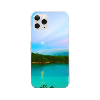 川平湾と月とマジックアワー Clear smartphone cases