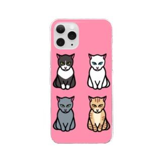 エジプト座りしながら様子を伺う猫 Clear smartphone cases