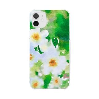 水色小花 Clear smartphone cases