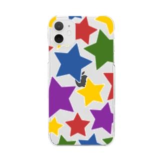 ぎっしりなカラフル星模様 Clear smartphone cases
