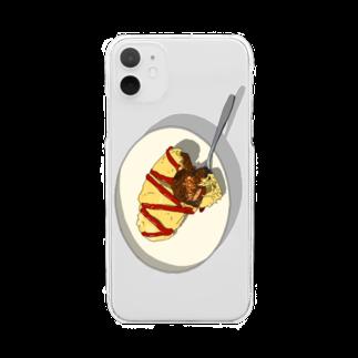 猫とアメジストのOMURICE Clear smartphone cases