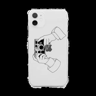 猫とアメジストのcamere Clear smartphone cases