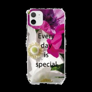 ミワサトのアネモネのスマホケース Clear smartphone cases