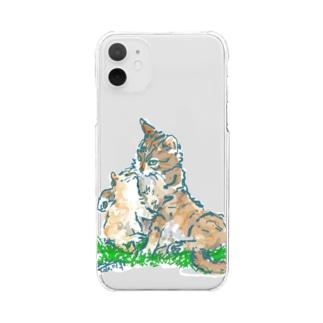 猫ちゃん 親子 Clear smartphone cases