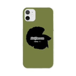 Halfmoon Betta①Black(Mossgreen) Clear smartphone cases