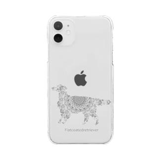 花月 フラットコーテッドレトリバー グレー Clear smartphone cases