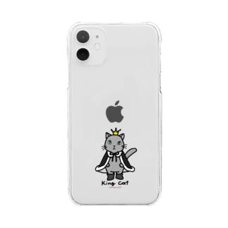 ねこの王様*黒 Clear smartphone cases