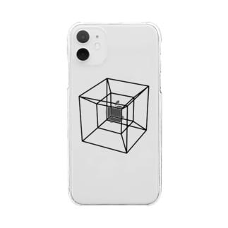 草笛鈴 / RIN KUSABUEの四次元超立方体 BLACK Clear smartphone cases