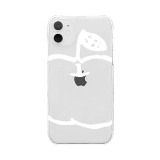 らぷるの白いらぷるのクリアスマホケース Clear smartphone cases